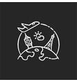 international tourism chalk white icon on black vector image