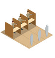 isometric men aiming pistol at target in indoor vector image