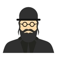Jewish rabbi icon flat style vector image vector image