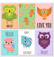 kids cards with cute cartoon owl vector image vector image