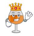 king cognac ballon glass mascot cartoon vector image