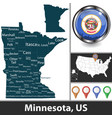 map minnesota us vector image