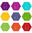medical marijua bottle icons set 9 vector image vector image
