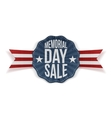 Memorial Day Sale national Emblem with Ribbon vector image vector image