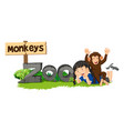 monkey and girl by the zoo sign vector image vector image