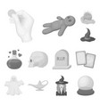 monochrome and white magic monochrome icons in set vector image vector image