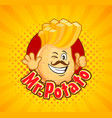 mr potato invite to delicious french fries vector image vector image