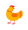 orange hen cartoon character flat vector image