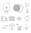 plumbing fitting outline icons in set collection vector image