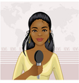 Pretty African American girl reports news vector image vector image