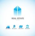 Real estate building blue logo vector image