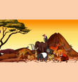 scene with animals in savanna field