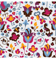 Seamless pattern with colored flowers vector