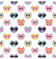 seamless pattern with cute cats with sunglasses vector image