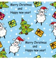 seamless pattern with sheep gifts and Christmas t vector image vector image