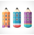 set colorful pencil houses vector image