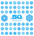Set of 50 round geometric ornaments vector image