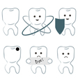 six icons of teeth vector image