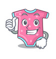 thumbs up cartoon baby clothes on hanger rack vector image