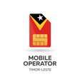 timor-leste mobile operator sim card with flag vector image vector image