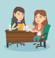 two caucasian business women at business meeting vector image