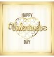 Valentine elegant golden frame with hearts and vector image