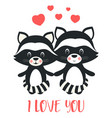 valentines card with cute raccoons vector image vector image