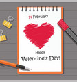 valentines day party with red heart on the notepad vector image vector image