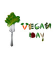 world vegan day inscription fruits and vegetables vector image vector image