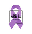world cancer day awareness banner vector image