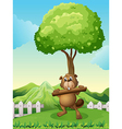 A beaver near the tree holding a log vector image vector image