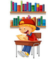 a boy reading on table vector image vector image