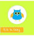 bashower card with blue owl its a boy vector image
