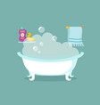 bathroom cartoon interior with bathtub full vector image vector image