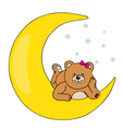 bear lying on the moon vector image vector image