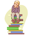 Boy is under stress with lot of books to read vector image