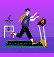 boy running on treadmill young man exercising vector image vector image