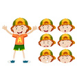 Boy with different facial expressions vector image vector image