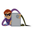 burglar unlock safe icon cartoon style vector image vector image