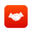 business handshake icon digital red vector image vector image