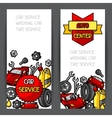 Car repair banners design with service objects and vector image