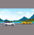 cars driving asphalt highway road near river vector image vector image
