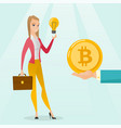 caucasian woman getting bitcoin coin for start up vector image