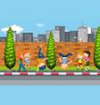 children dancing on street vector image vector image