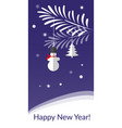 christmas greeting card with snowman and vector image vector image