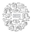 circular background different cheese top view vector image vector image