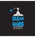 clean a bottle hand sanitizer vector image vector image