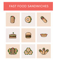 colorful icons of different sandwiches vector image vector image