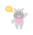 cute adorable hippo saying hi and waving his hand vector image