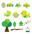 cute bird with houses vector image vector image